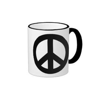 Peace Sign Black Ringer Mug