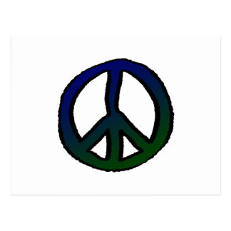 Peace Sign Blue and Green Postcard