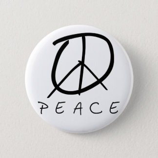 Peace Sign: Bud Hand Script 6 Cm Round Badge