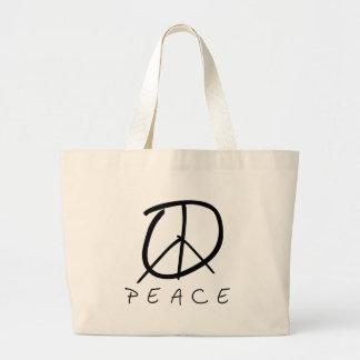 Peace Sign: Bud Hand Script Jumbo Tote Bag
