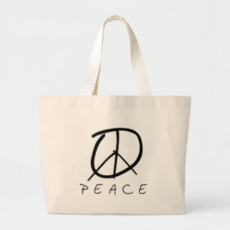 Peace Sign: Bud Hand Script Large Tote Bag