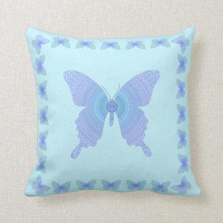 Peace Sign Butterflies lavender on aqua Cushion