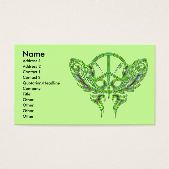 PEACE SIGN BUTTERFLY BUSINESS CARDS