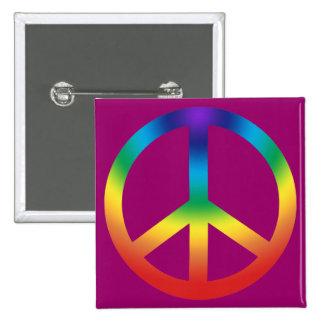 Peace Sign button Chakra Colors