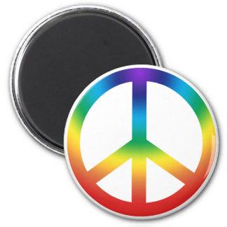 Peace Sign Button Chakra Colors Fridge Magnets