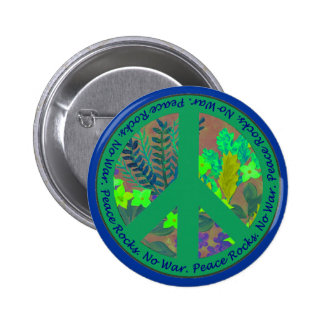 Peace sign button in green & blue