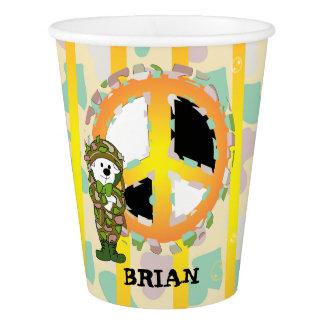 PEACE SIGN CARTOON 3  Paper Cup, 9 oz