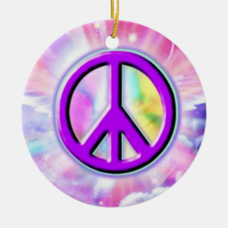 Peace sign christmas ornament