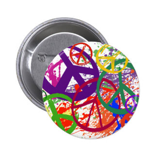 PEACE SIGN COLLAGE 6 CM ROUND BADGE