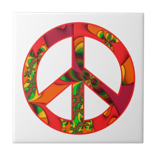 Peace Sign Colour Me Bright #2 Ceramic Tile