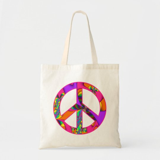 Peace Sign Colour Me Bright Tote Bag