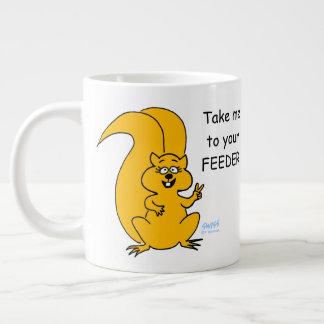 Peace Sign Cute Cartoon Squirrel Bird Feeder Funny Large Coffee Mug