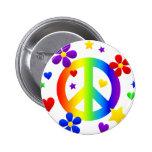 peace sign design 6 cm round badge