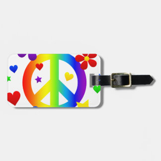 peace sign design luggage tag