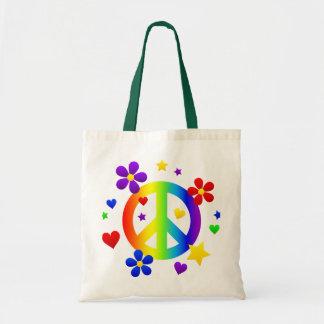 peace sign design tote bag