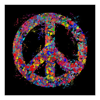 Peace Sign, Drip Art Poster