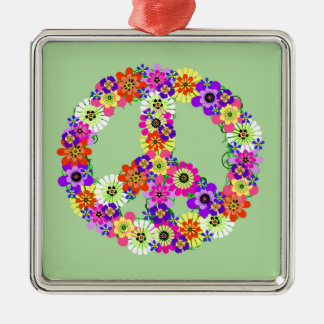 Peace Sign Floral Christmas Ornament