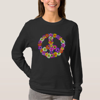 Peace Sign Floral Cutout on Black T-Shirt