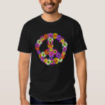 Peace Sign Floral Cutout Tees