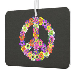 Peace Sign Floral on Black