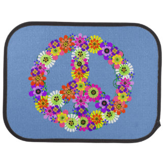Peace Sign Floral on Blue Car Mat