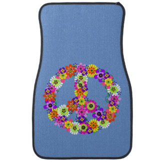 Peace Sign Floral on Blue Car Mat