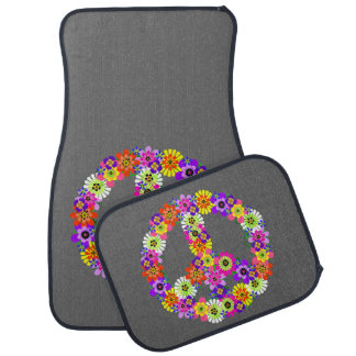 Peace Sign Floral on Gray Car Mat