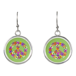 Peace Sign Floral on Green Earrings