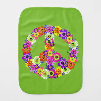 Peace Sign Floral on Lime Green Burp Cloth