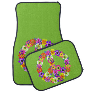 Peace Sign Floral on Lime Green Car Mat