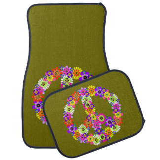 Peace Sign Floral on Olive Green Car Mat