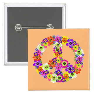 Peace Sign Floral on Peach 15 Cm Square Badge