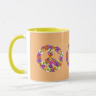 Peace Sign Floral on Peach Mug