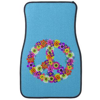 Peace Sign Floral on Sky Blue Car Mat