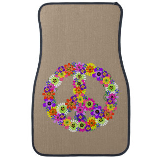 Peace Sign Floral on Tan Floor Mat