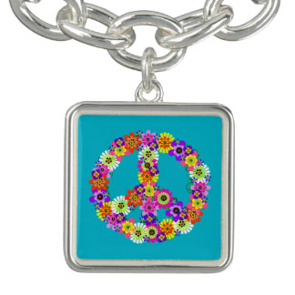 Peace Sign Floral on Turquoise