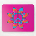 Peace Sign Flower Mouse Pad