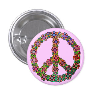 Peace Sign Flower Symbol Colorful 3 Cm Round Badge