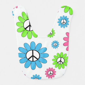 Peace Sign Flowers Bibs