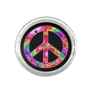 Peace Sign Fractal Groovy Trip Ring