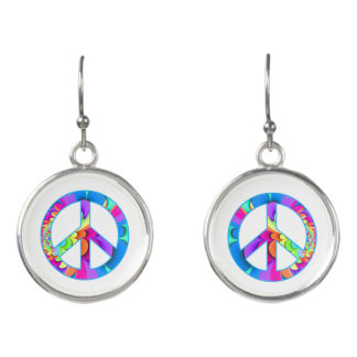 Peace Sign Fractal Summer Palette Earrings