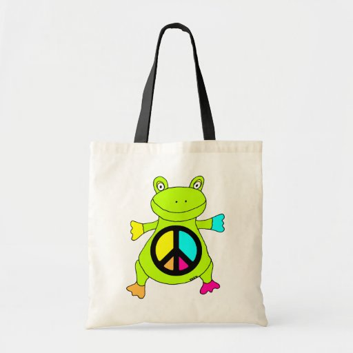 Peace Sign Frog Canvas Bag