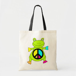 Peace Sign Frog Budget Tote Bag
