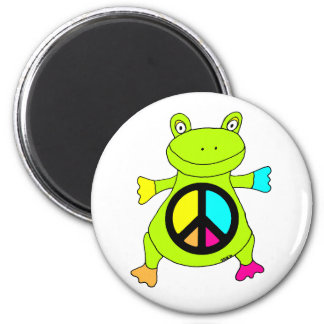 Peace Sign Frog Round Magnet