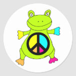 Peace Sign Frog Round Stickers
