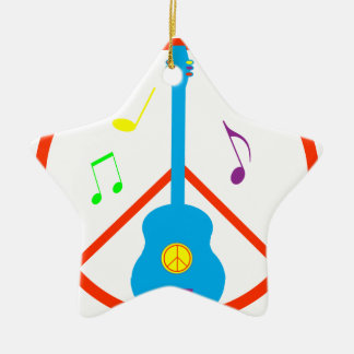 Peace Sign Guitar and Music Notes Christmas Ornament