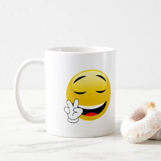 Peace Sign Hands Emoji Coffee Mug