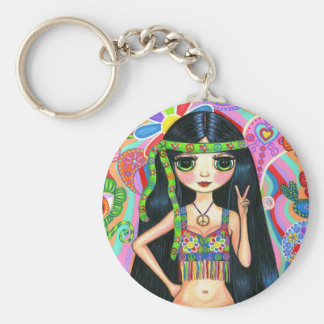 Peace Sign Hippie Girl Keychain