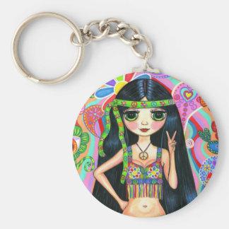 Peace Sign Hippie Girl Keychain