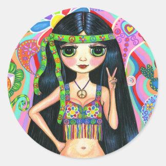Peace Sign Hippie Girl Sticker